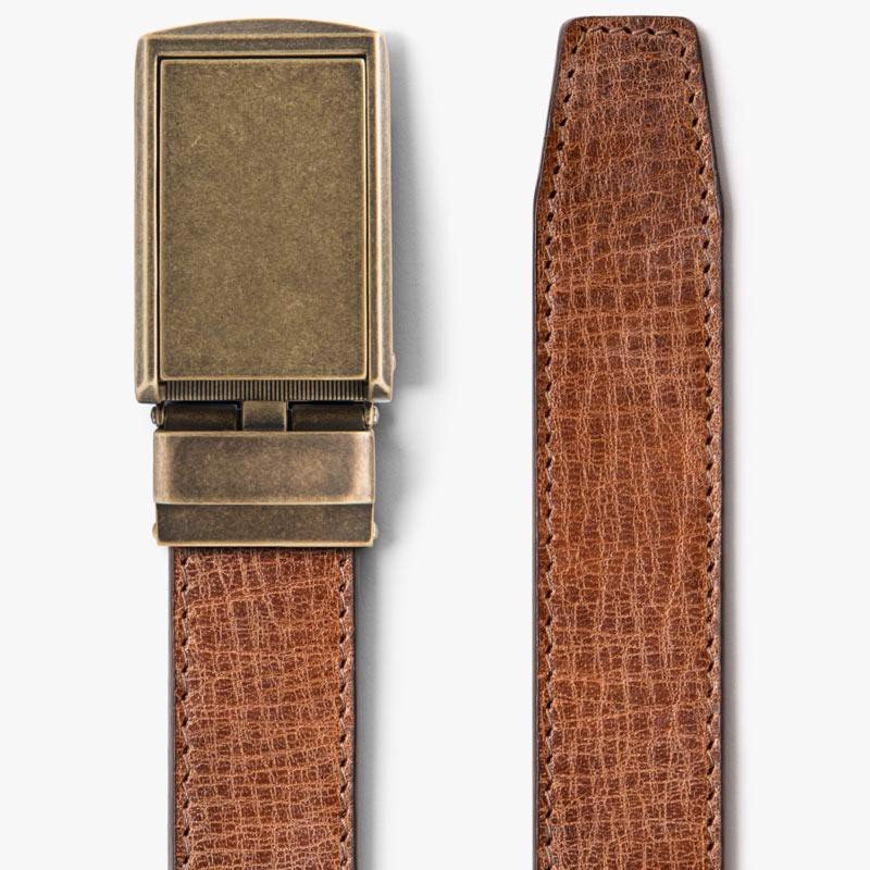 Thắt lưng da Full Grain Rustic Hickory with Brass Buckle | SLIDEBELTS