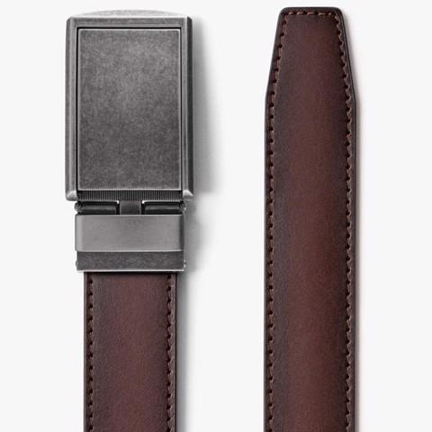 Thắt lưng da Full Grain Smooth Mahogany with Graphite Buckle | SLIDEBELTS