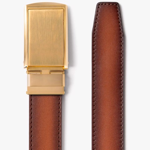 Thắt lưng da Full Grain Smooth Cognac with Brushed Gold Buckle | SLIDEBELTS