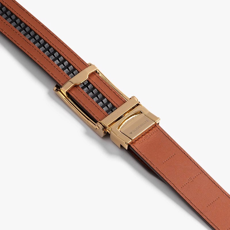 Thắt lưng da Full Grain Smooth Cognac with Brushed Gold Buckle | SLIDE