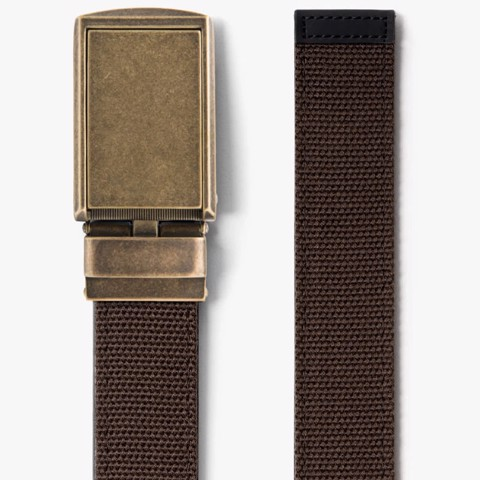 Thắt lưng Brown Canvas Belt with Brass Buckle | SLIDEBELTS