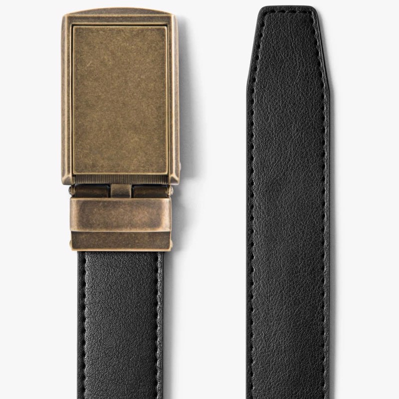Thắt lưng Classic Black Belt with Brass Buckle | SLIDEBELTS
