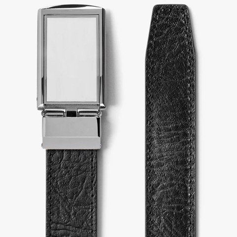 Thắt lưng da Top Grain Black with White Buckle | SLIDEBELTS