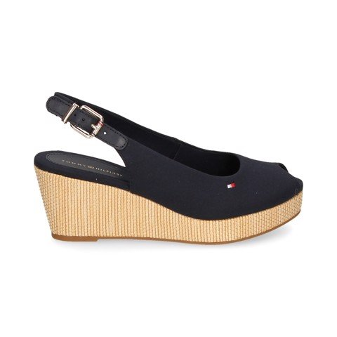 Tommy Hilfiger - Giày đế cao Nữ Iconic Elba Sling Back Wedge FW21-5P29
