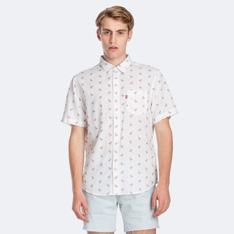 Levi's - Áo sơ mi tay ngắn nam Classic Stand Cartoon Flamingo Cloud Men SS-0021