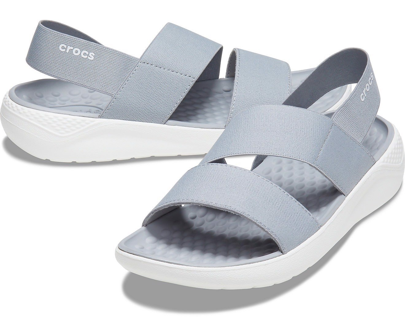 Crocs - Giày sandal nữ Literide Stretch Sandal Women Light Grey/White - 25060