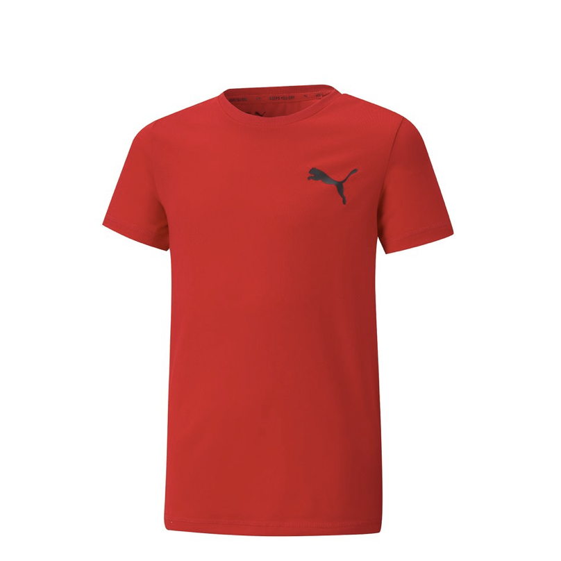 Puma - Áo thun trẻ em Active Small Logo Tee Boy High Risk Red Lifestyle SS21-5869
