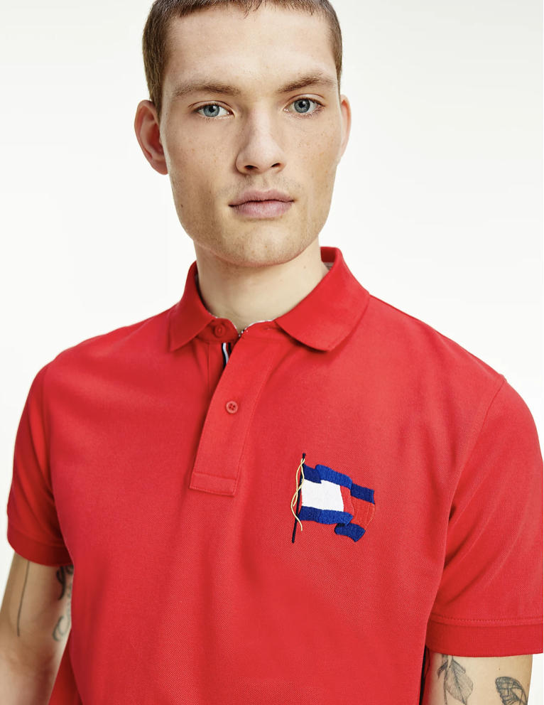 Tommy Hilfiger - Áo polo tay ngắn nam 1985 Wavy Flag Regular Polo 9829-MP21