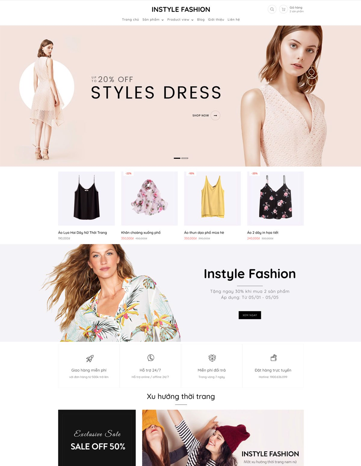 Mẫu website instyle fashion