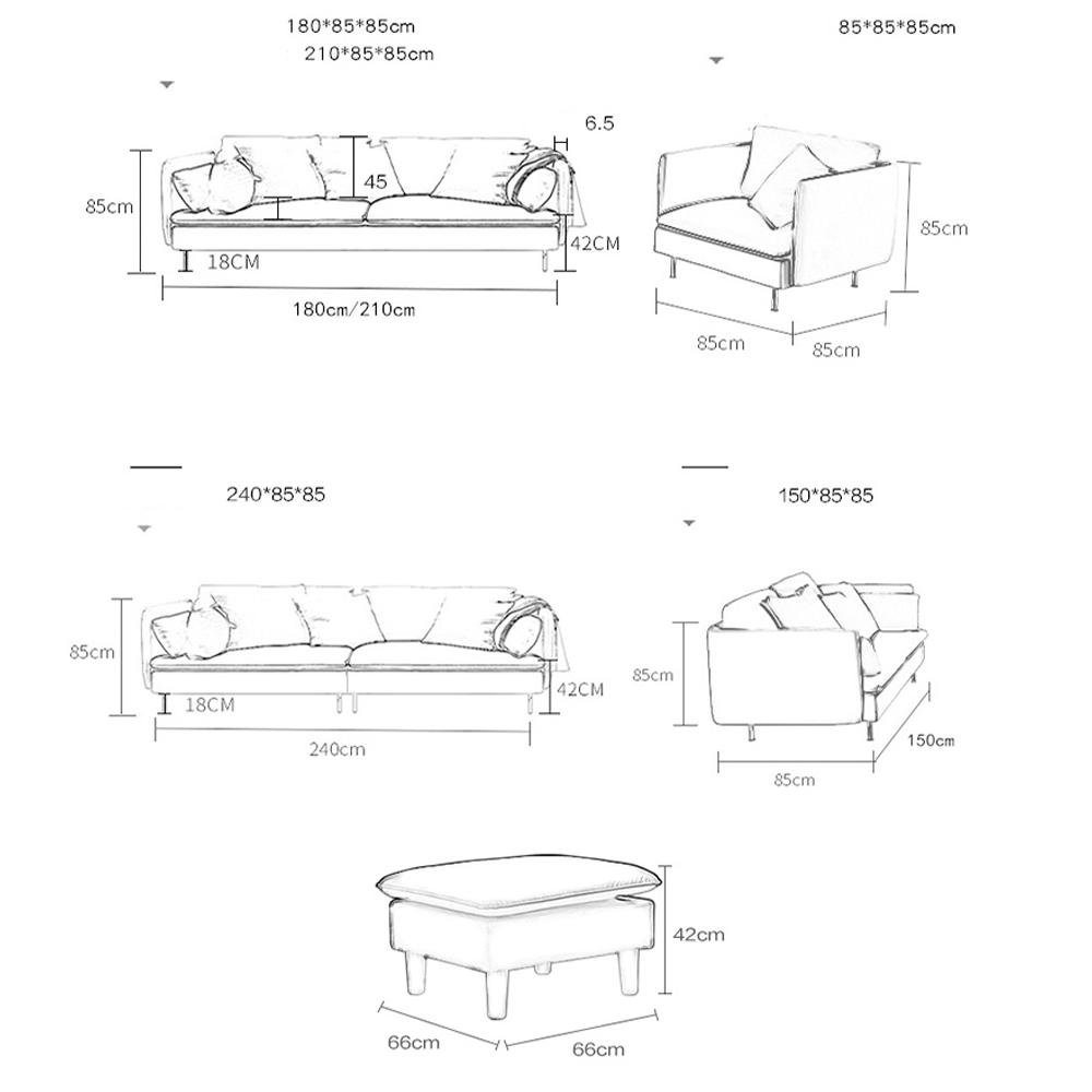 Sofa Phòng Khách TB002 – Nhiều màu trơn
