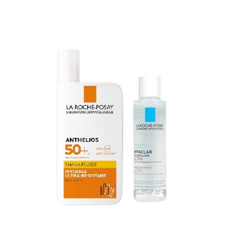 <p> - Combo Kem Chống Nắng La Roche-Posay Anthelios Shaka Fluid SPF50+ và Micellar Water Oily 50ml
