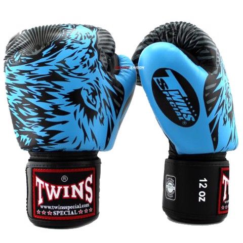 GĂNG TAY TWINS FBGV-50 VELCRO GLOVES (THAILAND LEATHER 100%) - LIGHT BLUE