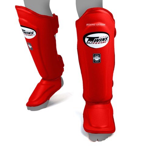 Bảo Hộ Chân Twins Sgl-10 Double Padded Leather Shinguard - Red