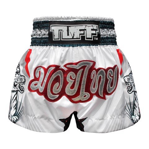 Quần Tuff Muay Thai Boxing Shorts White With Double White Tiger