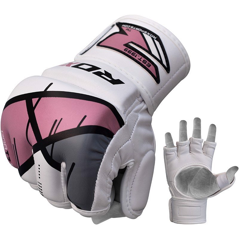 Găng Tay Rdx Training Leather-X Mma Grappling Gloves - Pink