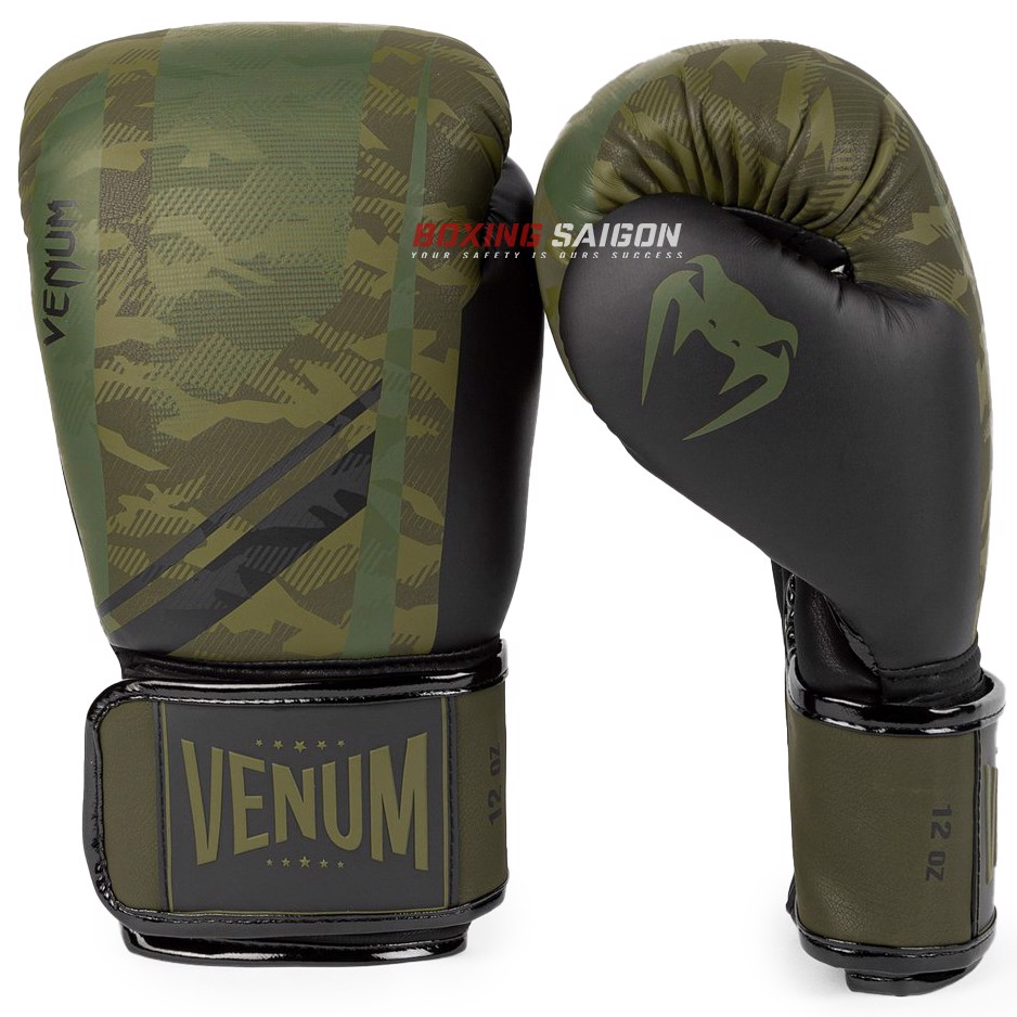 Găng Tay Venum Trooper Boxing Gloves - Forest Camo/Black