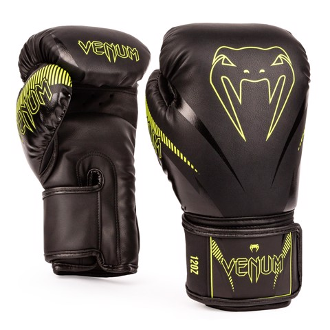 Găng tay Venum Impact Boxing Gloves - Black/Neo Yellow