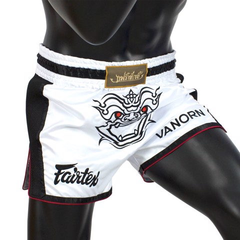 QUẦN FAIRTEX VANORN WHITE SLIM CUT MUAY SHORT