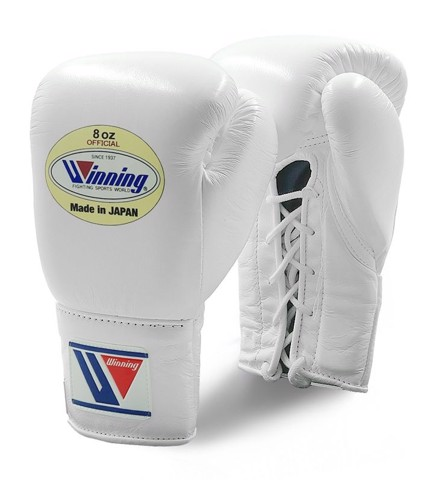 Găng Tay Boxing Winning Pro Fight Laces Gloves - White