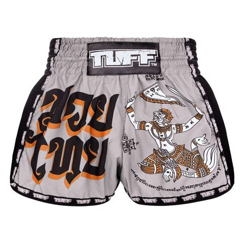 Quần TUFF Muay Thai Boxing Shorts New Retro Style Grey Hanuman Yantra with War Flag