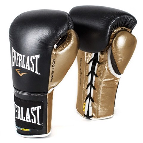 GĂNG TAY EVERLAST POWERLOCK LACED TRAINING GLOVES - BLACK/GOLD