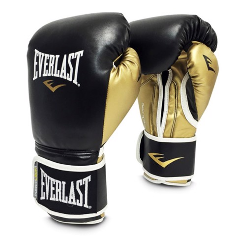 Găng Tay Everlast Powerlock Hook & Loop Training Gloves With Synthetic Leather - Black/Gold