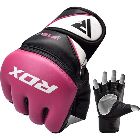 Găng Tay Rdx Leather-X Training Mma Grappling Gloves - Pink