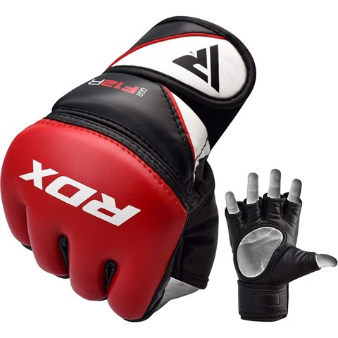 Găng Tay Rdx Leather-X Training Mma Grappling Gloves - Red
