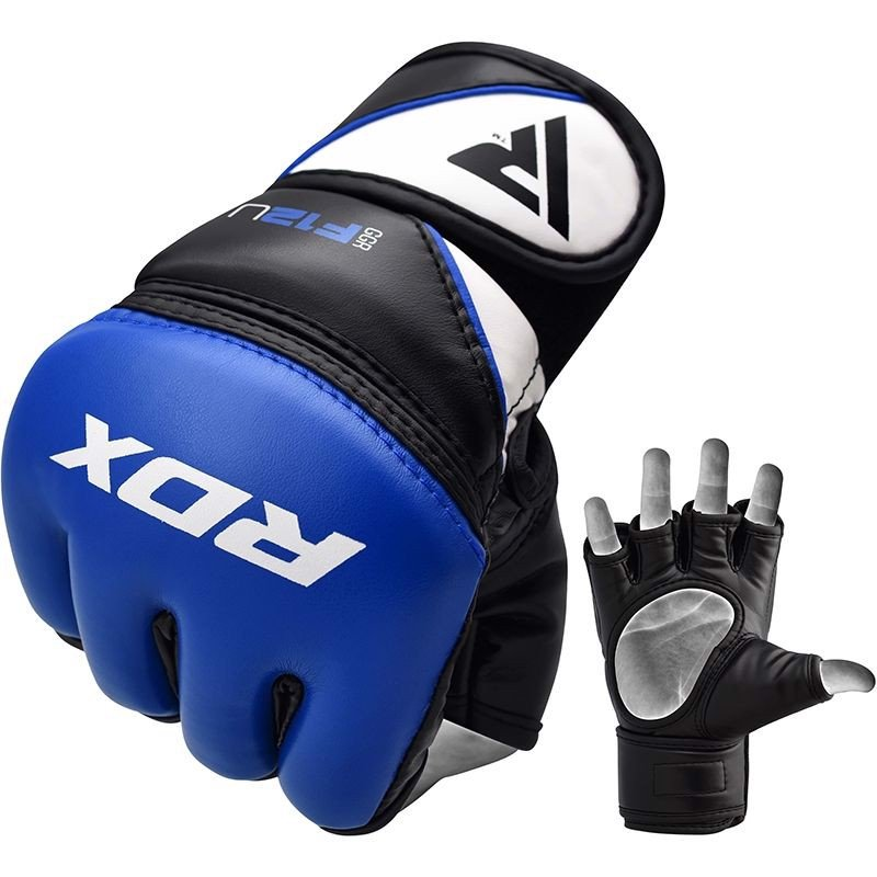 Găng Tay Rdx Leather-X Training Mma Grappling Gloves - Blue