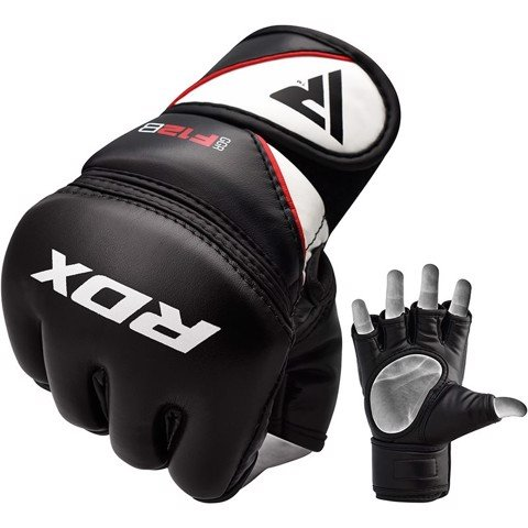 Găng Tay Rdx Leather-X Training Mma Grappling Gloves - Black