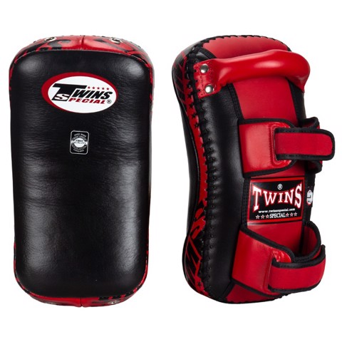 Đích Đá Twins Kpl-10 Curved Leather Thai Kick Pads - Black/Red