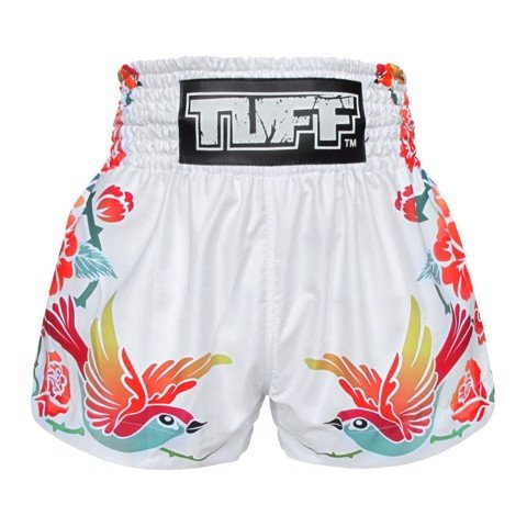 Quần TUFF Muay Thai Boxing Shorts White Birds And Roses Inspired