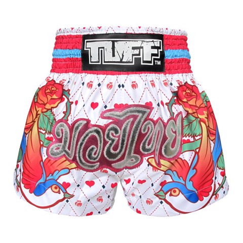 Quần TUFF Muay Thai Boxing Short White With Classic Rose
