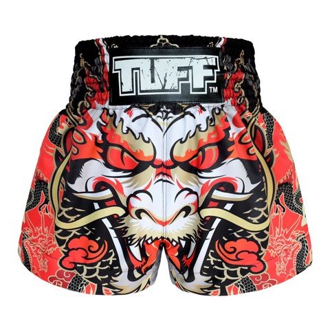 Quần TUFF Muay Thai Boxing Shorts Dragon King in Red