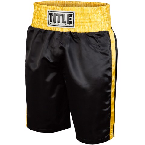 QUẦN TITLE PROFESSIONAL SATIN BOXING TRUNKS - BLACK/YELLOW