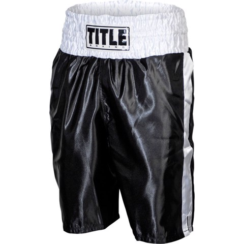 QUẦN TITLE PROFESSIONAL SATIN BOXING TRUNKS - BLACK/WHITE