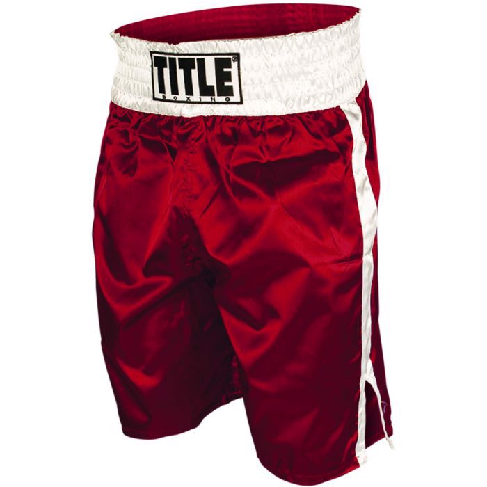 Quần Title Professional Satin Boxing Trunks - Red/White