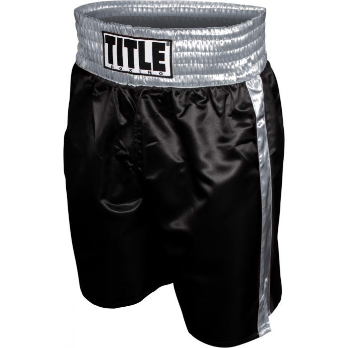 QUẦN TITLE PROFESSIONAL SATIN BOXING TRUNKS - BLACK/SILVER