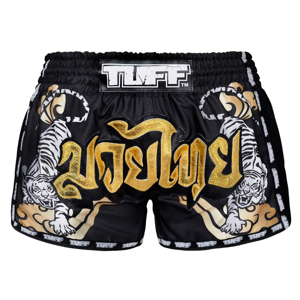 QUẦN TUFF MUAY THAI BOXING SHORTS BLACK RETRO STYLE DOUBLE TIGER WITH GOLD TEXT