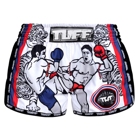 QUẦN TUFF MUAY THAI BOXING SHORTS WHITE RETRO STYLE DOUBLE TIGER WITH MUAY THAI FIGHTERS