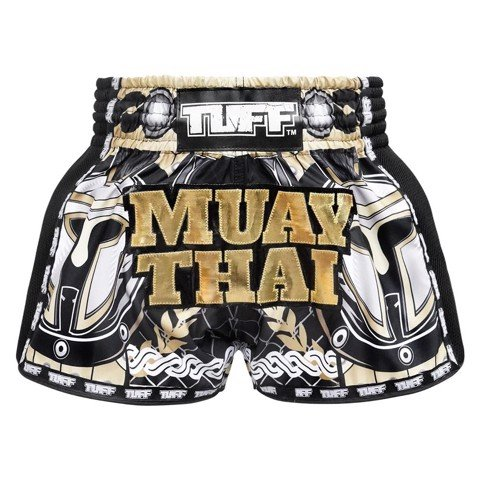 Quần Tuff Muay Thai Boxing Shorts New Retro Style Golden Gladiator In Black