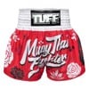 QUẦN TUFF MUAY THAI BOXING SHORTS RED MUAY THAI FIGHTER WITH FLOWER PATTERN