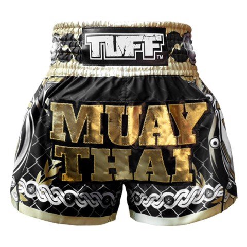 Quần Tuff Muay Thai Boxing Shorts Golden Gladiator In Black
