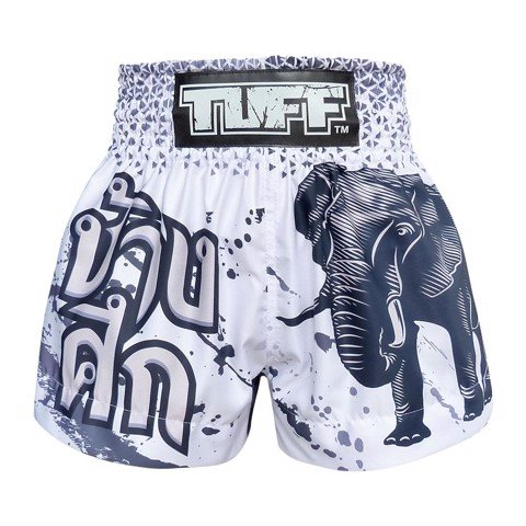 Quần Tuff Muay Thai Boxing Shorts White War Elephant