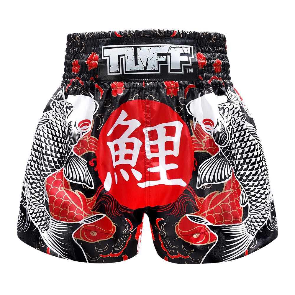 Quần Tuff Muay Thai Boxing Shorts Black Japanese Koi Fish