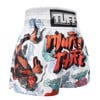 Quần Tuff Muay Thai Boxing Shorts White Japanese Koi Fish With Muay Thai Text