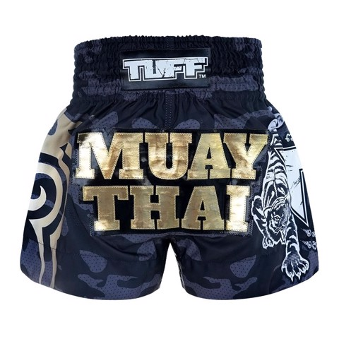 Quần Tuff Muay Thai Boxing Shorts New Black Military Camouflage