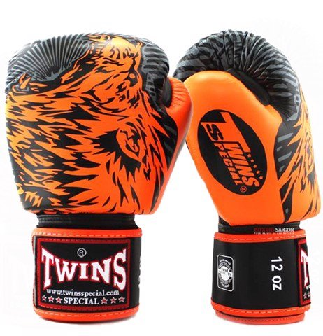 GĂNG TAY TWINS FBGV-50 VELCRO GLOVES (THAILAND LEATHER 100%) - ORANGE/BLACK