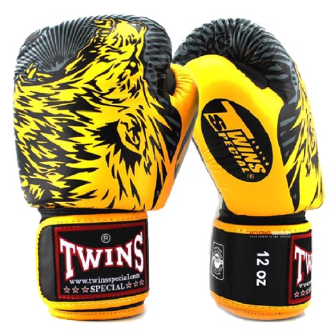 Găng Tay Twins Fbgv-50 Velcro Gloves (Thailand Leather 100%) - Yellow/Black