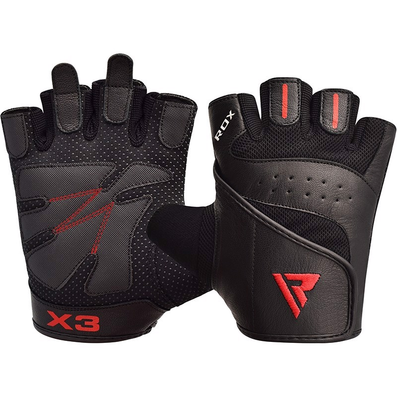 Găng Tay Gym Rdx S2 Black Leather Weight Lifting Gloves